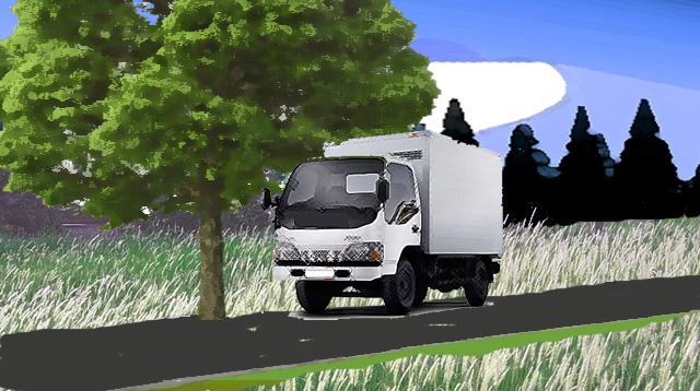 Ilustrasi mobil di bawah pohon.