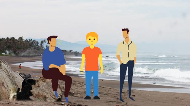 Ilustrasi tiga orang di pantai
