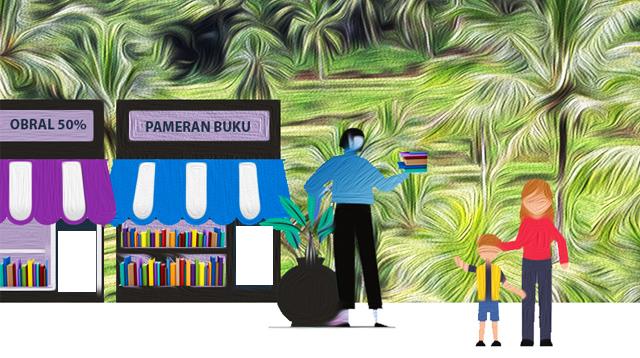 Ilustrasi pameran buku.