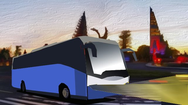 Ilustrasi bus wisata di Bali